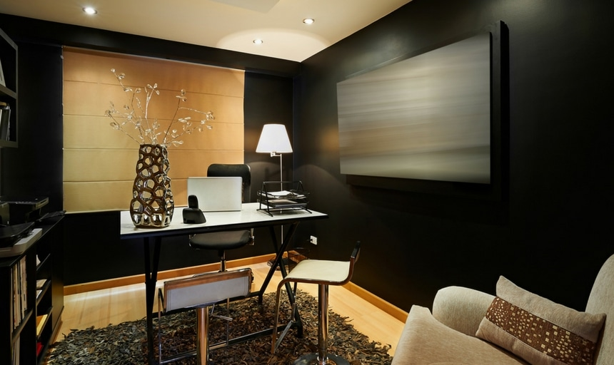 Modern interior study with art on the wall