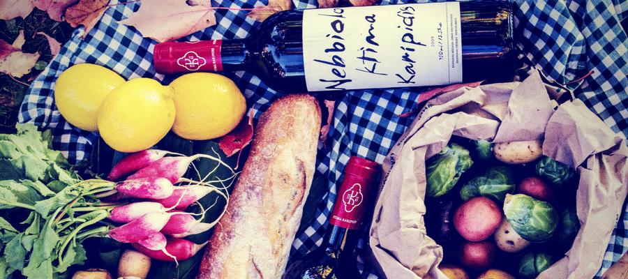 Picnic food and wine