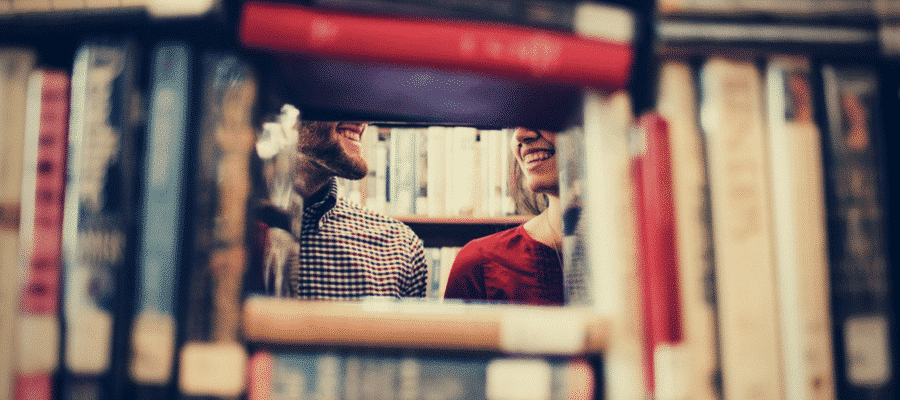 Couple smiling at bookstore