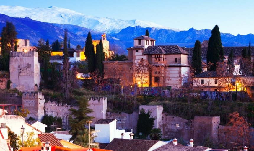 Alhambra with Sierra Nevada in the background