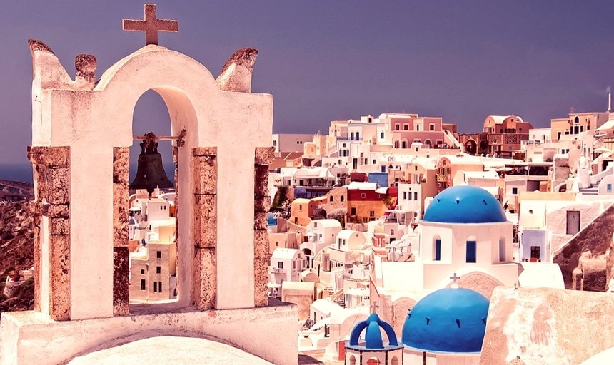 Blue domed churches from Oia on the greek isle of Santorini