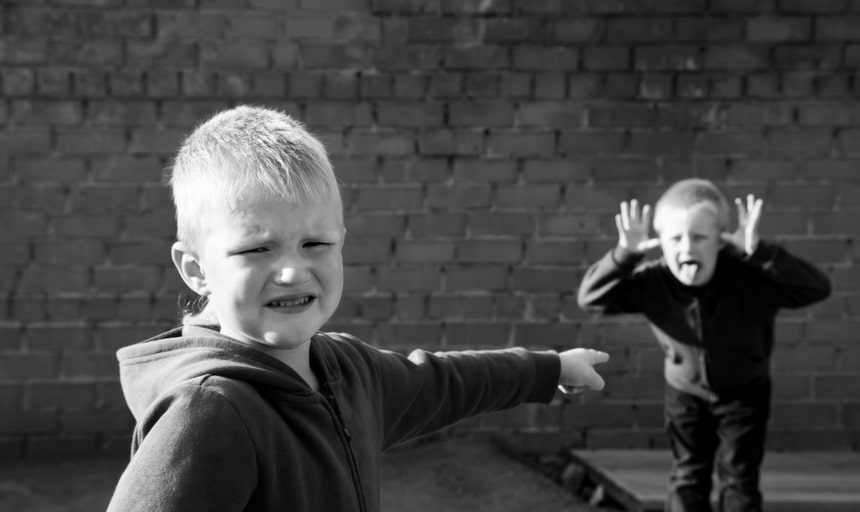 Brothers fighting, young kids squabble