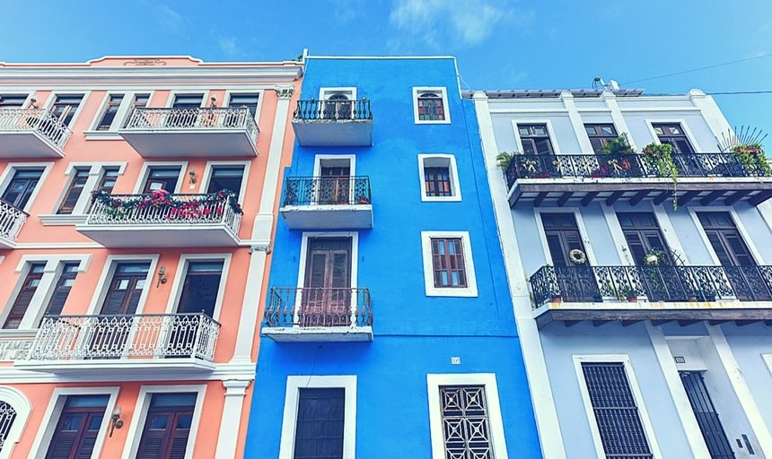 Classical and colorful colonial style apartments of San Juan, Puerto Rico