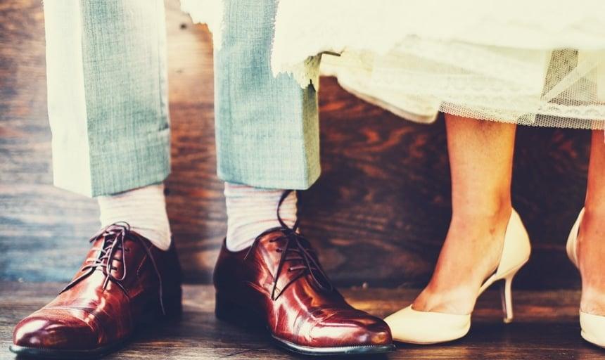 Couple dress shoes and high heels man fashion