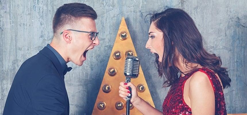 Couple on date singing karaoke