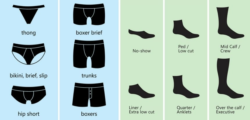 Different kinds of men's briefs and socks styles