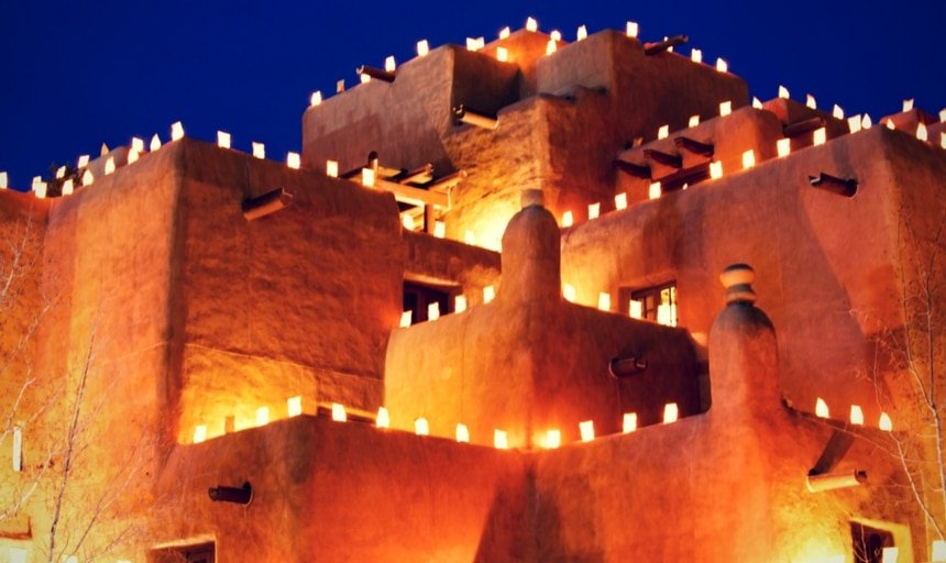 Farolitos in Santa Fe, New Mexico at night