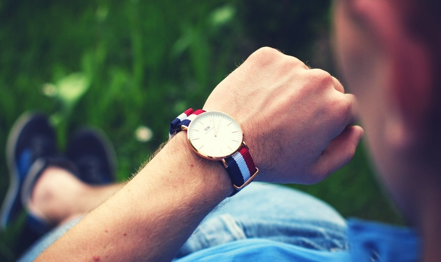 Man with DW watch in park
