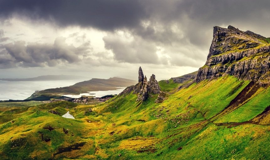 Panoramic view of Old man of Storr mountains, Scottish Highlands on a stormy day