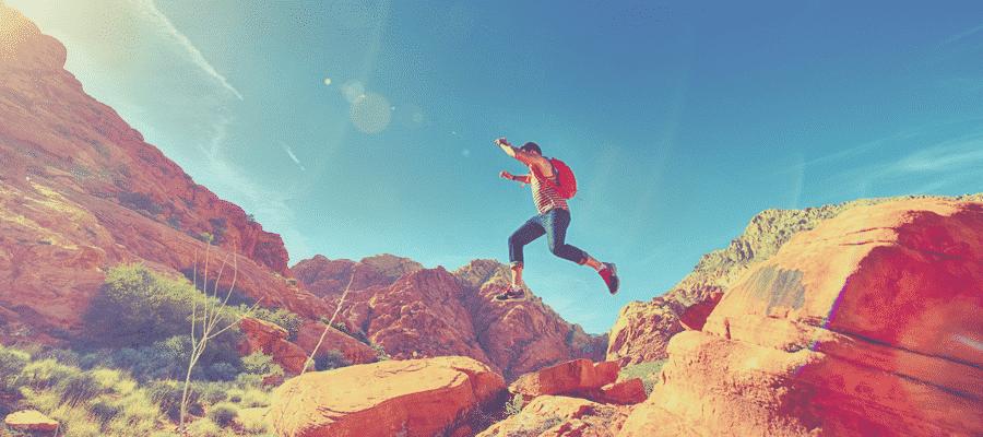 Man running through the desert