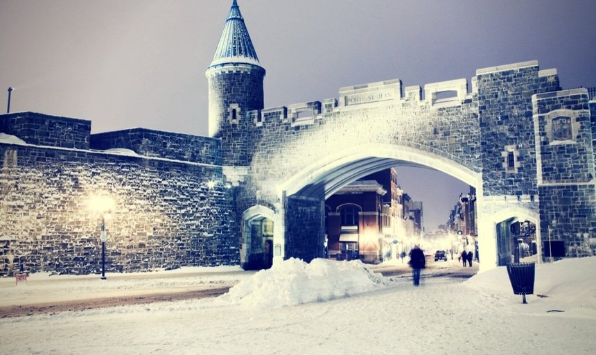 Quebec city landmark. Old fortress in winter.
