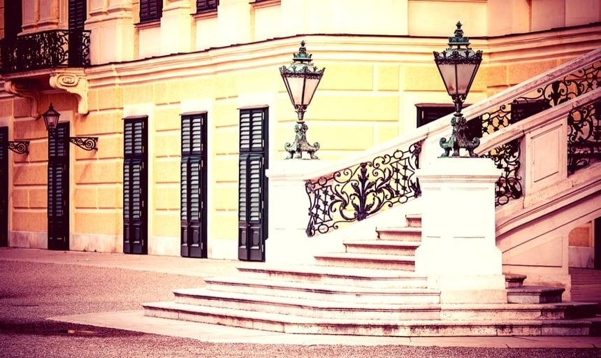 Schonbrunn Palace steps in Vienna, Austria
