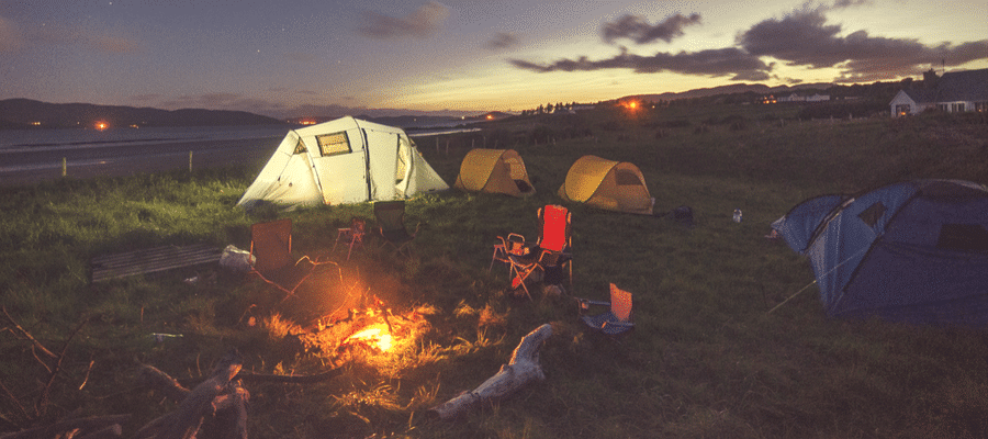 Campsite with tents and fire