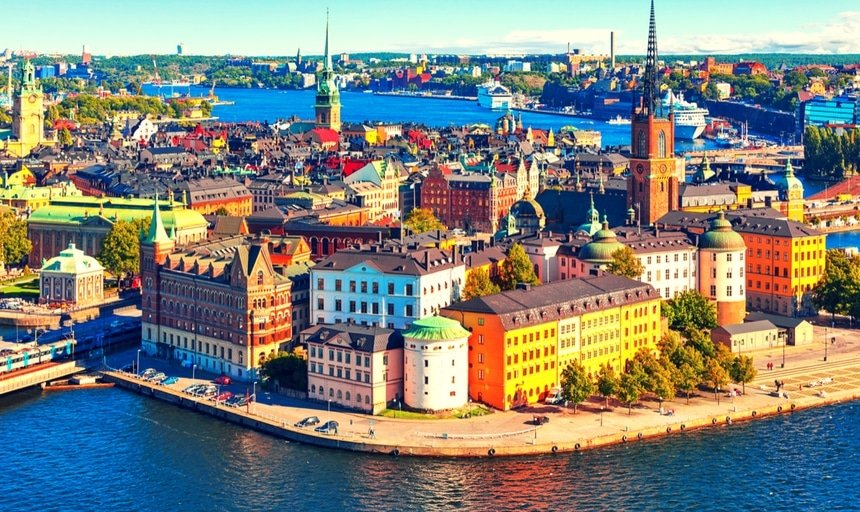 Sky view of the Old Town (Gamla Stan) in Stockholm, Sweden