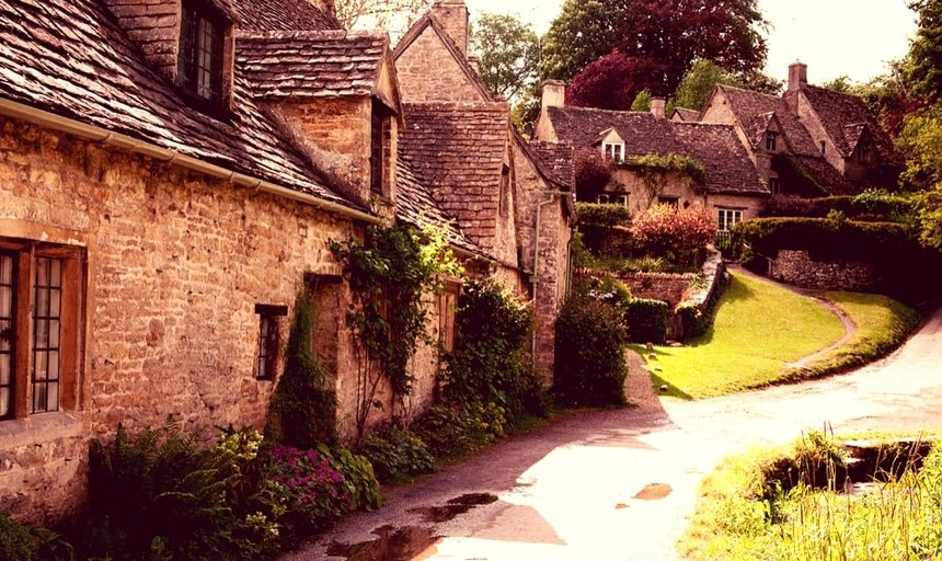 Traditional Cotswold cottages in England