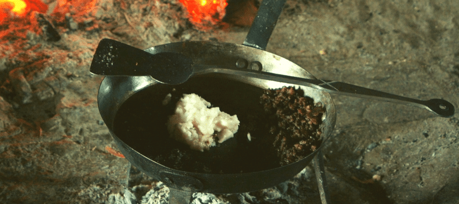 Cast iron skillet with fire