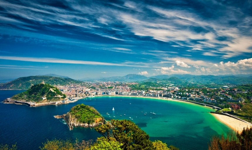 View from sky, beach of San Sebastian