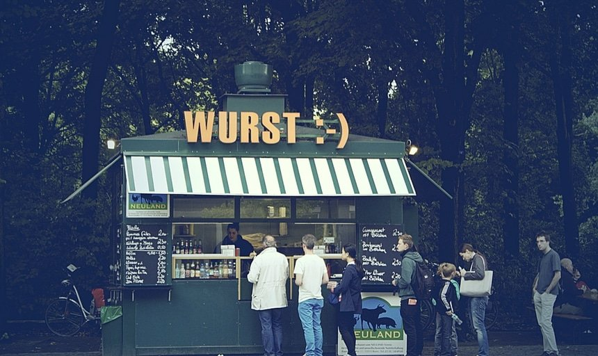 Wurst stand in Berlin, Germany, people lining up