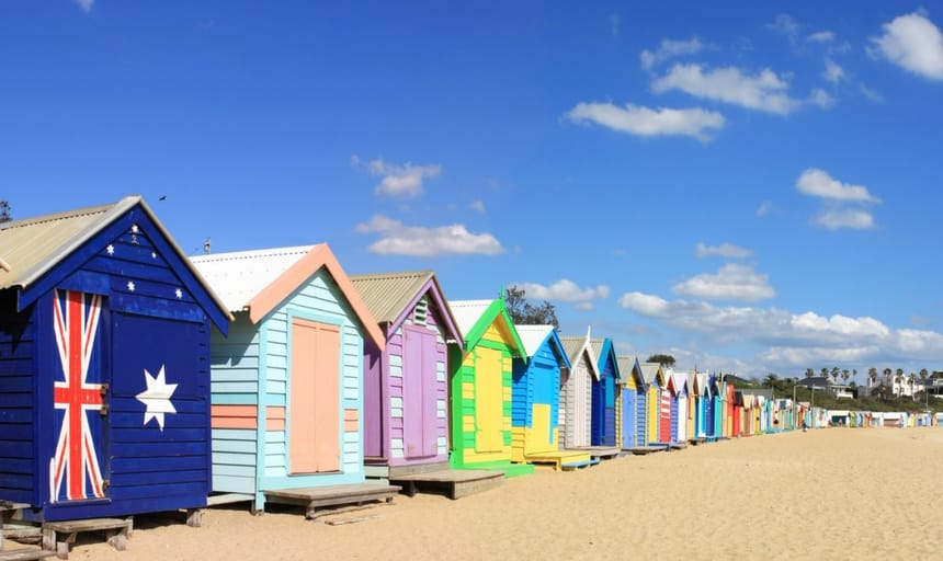 Brighton Beach Bathing Boxes in Melbourne, Australia