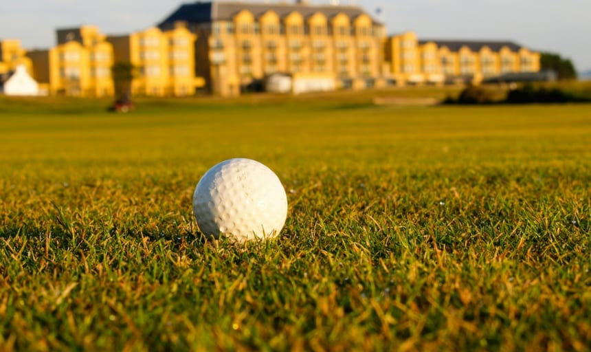 Golf ball on fairway at St Andrews golf course, Scotland
