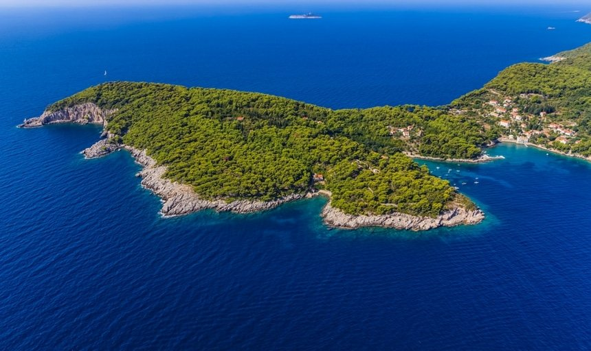 View from the sky, Island Kolocep at Elaphites near Dubrovnik