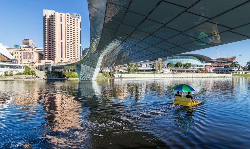 View of Adelaide under the Bridge Centre on the river
