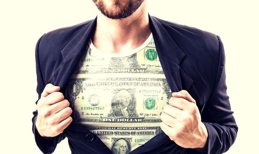 Man financial independent dollar bill shirt under suit