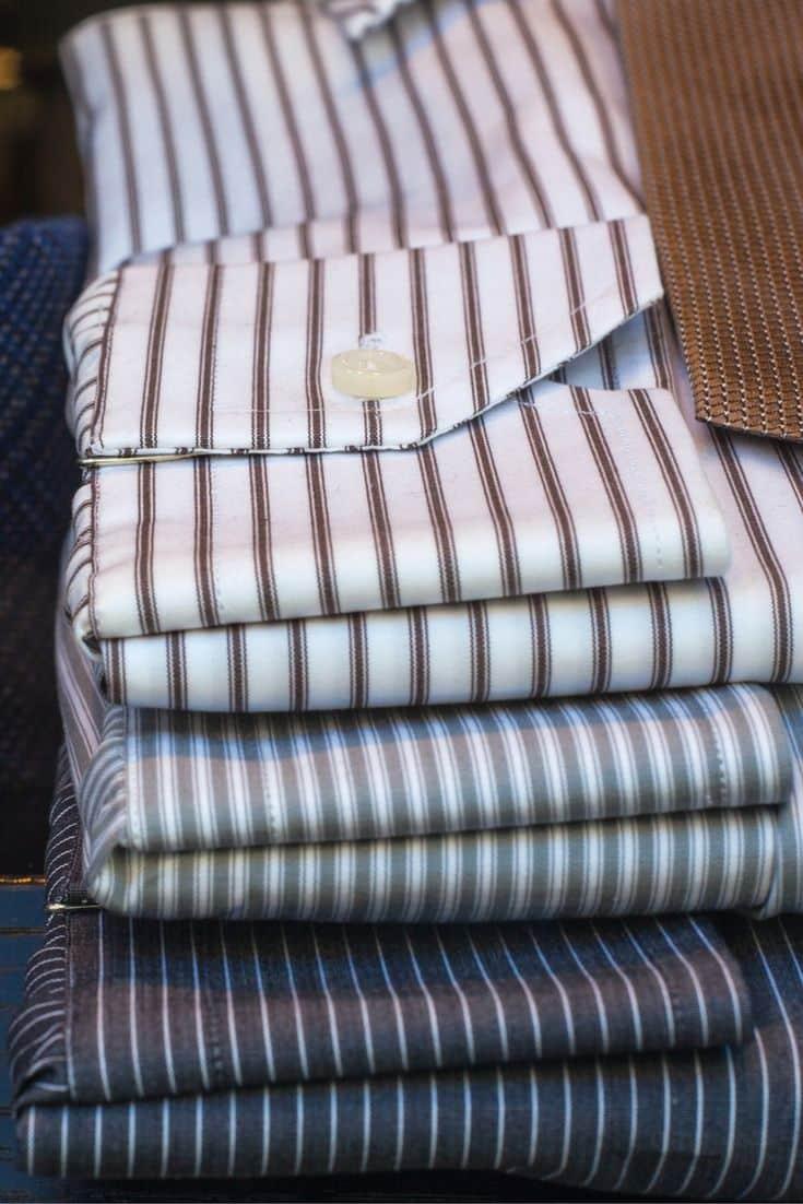Stack of striped dress shirts