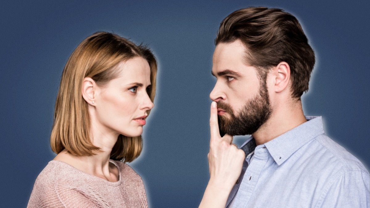Questions a Man Should Never Ask Woman Putting Her Finger to a Guys Mouth to Shush Him