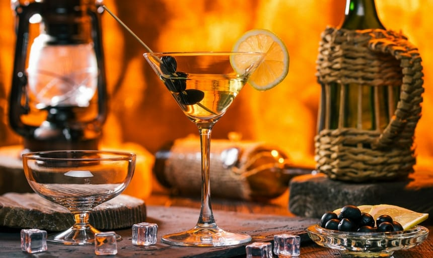 classic martini in a rustic manly setting