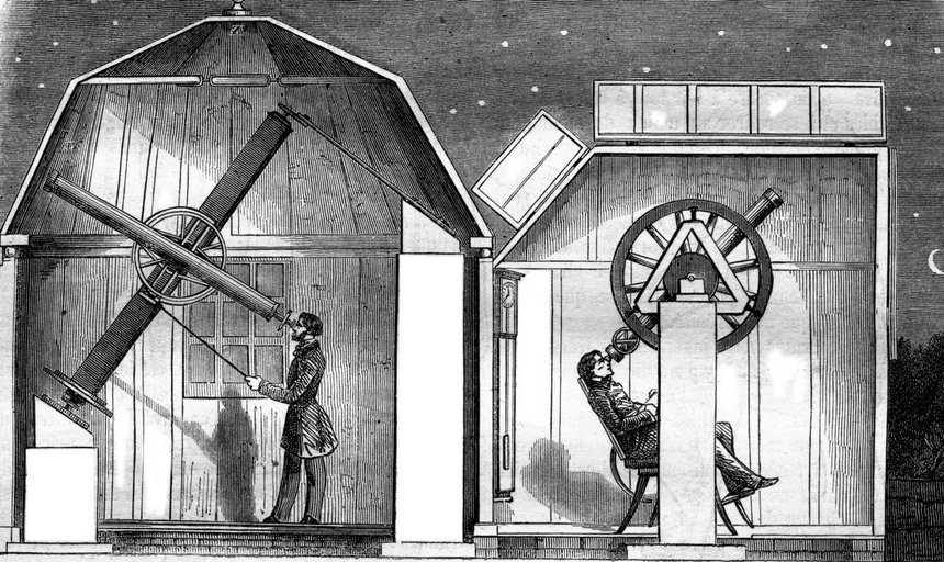 Cartoon black and white image of men looking through telescopes, astronomy
