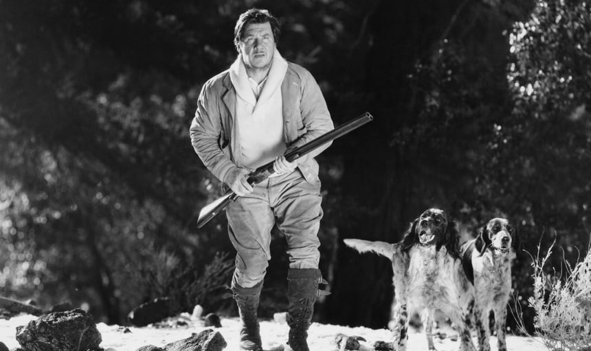 Man with rifle and hunting dogs out hunting - black and white, vintage style image