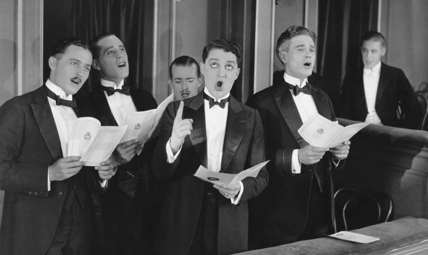 Men singing in a choir - vintage image in black and white