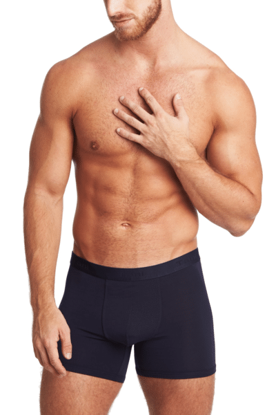 TANI Usa Silkcut Classic Boxer Brief Navy Worn by Model Facing Forward