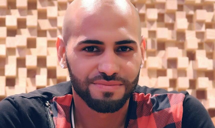 Bald man closeup with facial hair