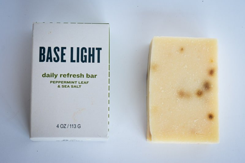 Base Light Soap Top Down on White Background