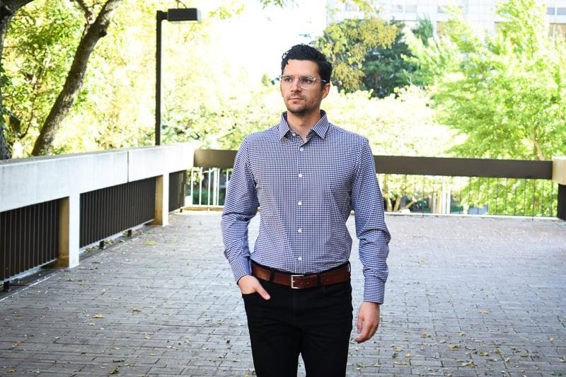 Business Casual for Men Model Wearing MizzenMain Kennedy Dress Shirt with Slacks