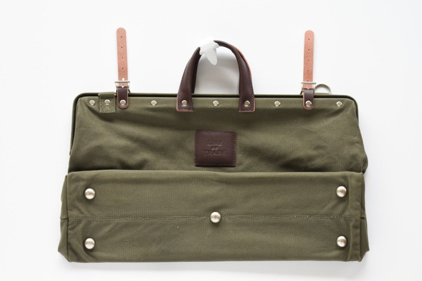 Top Down of Bespoke Post Weekender Bag in Olive Side On Folded In