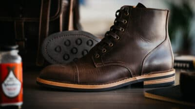 Good vs Bad Quality Footwear Oliver Cabell Brown Leather Chelsea Boot with Cleaning Supplies