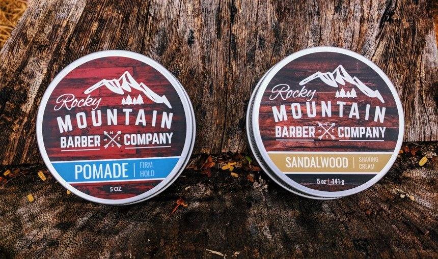 Rocky Mountain Barber Company Shaving Cream and Pomade Side By Side