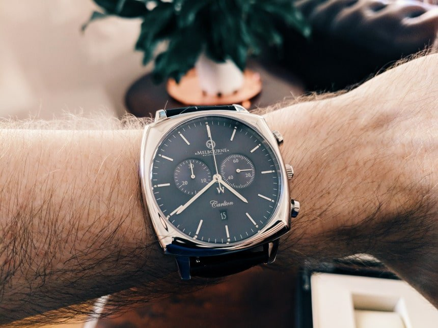 Melbourne Watch Company Carlton Black on wrist inside