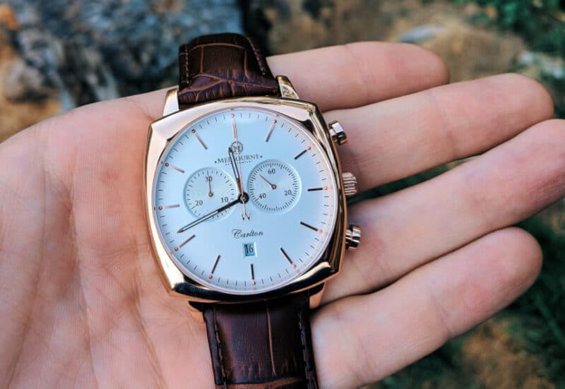 Melbourne Watch Company Carlton Classic Rose Dial in hand