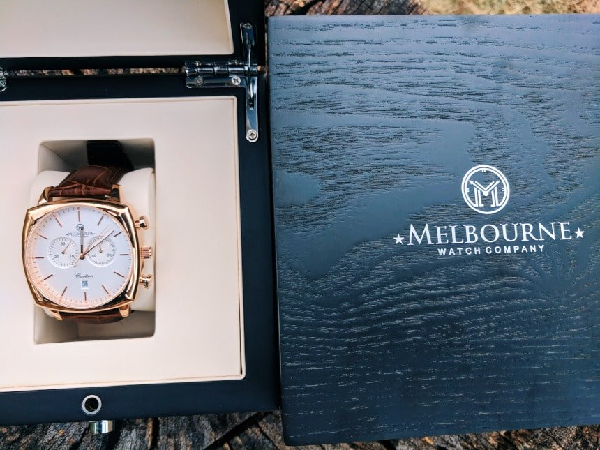 Melbourne Watch Company Carlton Classic Rose in box with closed box next to it
