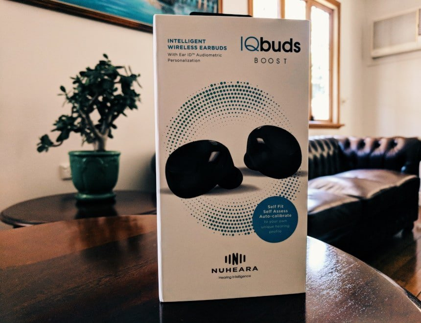Nuheara IQbuds BOOST box front standing