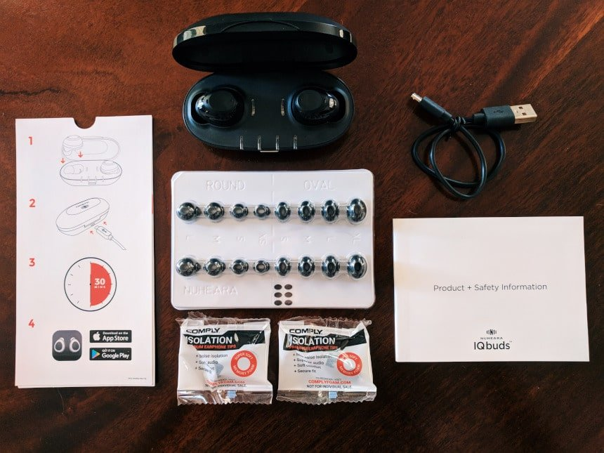 Nuheara IQbuds BOOST top down entire package unboxed