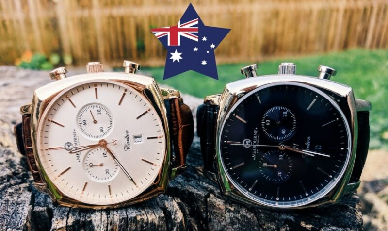 Best Australian Watch Brands: Two Melbourne Watch Company Carlton Models Sitting Next to Each Other On a Rock