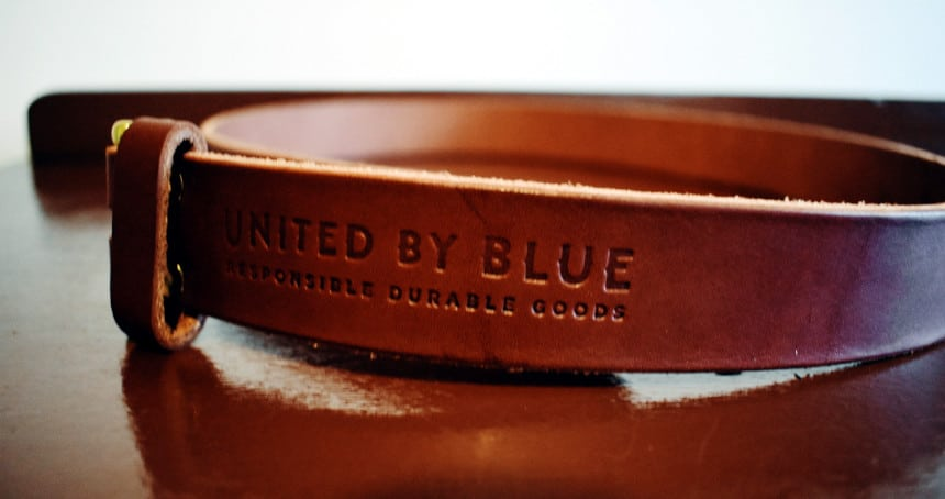United By Blue Standard Leather Belt Close Up Logo