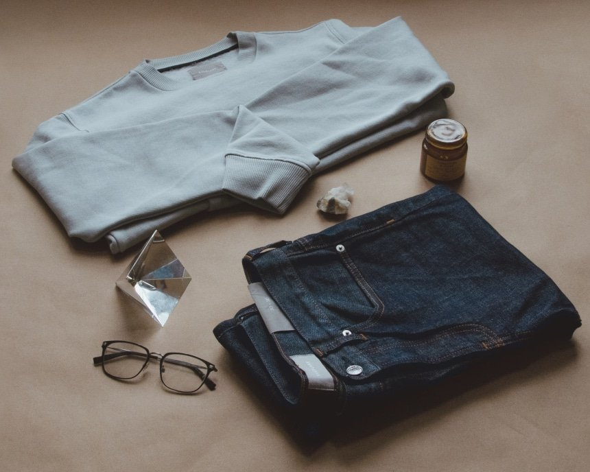 Everlane grid of men's clothing plus random accessories