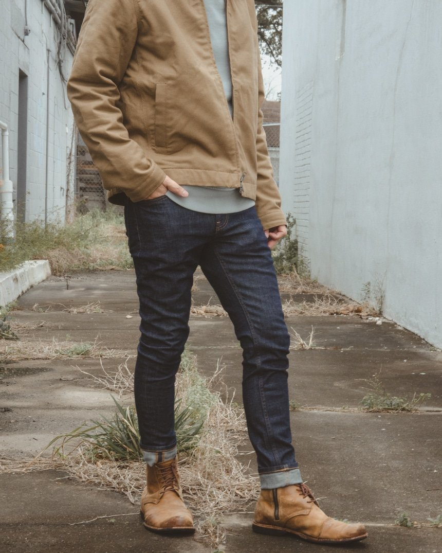 Male model showing off Everlane Skinny Fit Jean outdoors
