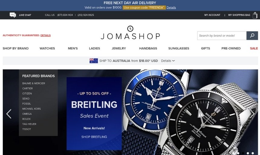 Jomashop Online Watch Store Screenshot